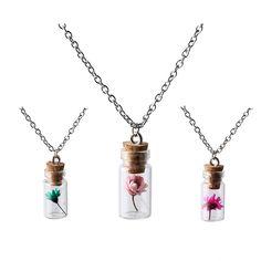새로운 최고 패션 보석 실버 체인 사랑스러운 소녀 꽃 식물 소원 병 목걸이 & 여성 펜던트 NR2230