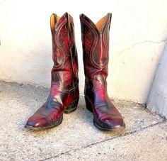 Details about Vintage Tony Lama Green Snakeskin Rockabilly Cowboy Boots