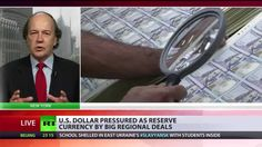 'Very Bad News For Dollar': Bucks Slipping As World's Reserve Currency ~ Pub on May 28, 2014 ~ The biggest energy deal in history could be the catalyst that leads to the greenback losing its place as the world's reserve currency. That's the opinion of a range of economists commenting on Russia and China's 400 billion dollar natural gas agreement. James G. Rickards, senior managing director at Tangent Capital, joins RT to discuss this issue.