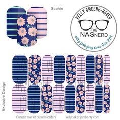 Sophie inspired~ Get the Look without the polish! Contact me @ Kelly Greene-Baker/The NAS Nerd on Facebook or email me bluegodiva@gmail.com if interested in designing/ordering a custom nail art studio sheet (NAS) of your own . Curious about Jamberry's 350+ ready-to-go catalog wrap designs, lacquer or gel enamels? Head to kellybaker.jamberry.com ~ DIY nail art, flowers, pink, navy, mint, spring, feminine, stripes