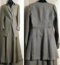 Walking suit, ca. 1910. Celery linen with black embroidered detail at collar & cuffs.