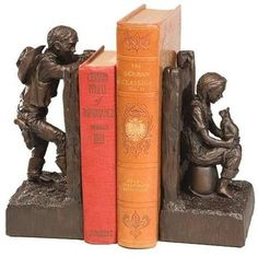 Bookends Bookend AMERICAN WEST Southwestern Ranch Kids Resin New Hand-Cas OK-930