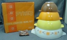 Pyrex Town Country Cinderella Nesting Mixing Bowl Set New Box | eBay
