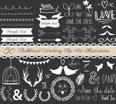 Chalkboard Wedding Clip Art, Instant Download Small Commercial Use Chalkboard Wedding EPS and PNG Clip Art Illustrations, Hand Drawn Clipart
