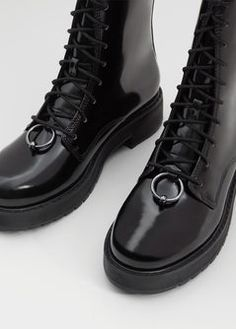 Lace-up patent leather-effect ankle boots
