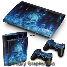 PS3 Super Slim Playstation Skin Stickers PVC for Console + 2 Controllers/ Pads Decal Protector Cover Art Leather Effect Blue Skull: Amazon.co.uk: PC & Video Games