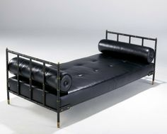 JACQUES ADNET Daybed in brass and black leather