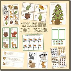 Wildlife Tot Pack - so cute! Could be used with the Camping theme. Fall Preschool, Preschool Themes, Preschool Printables, Preschool Literacy, Free Printables, Animal Activities, Toddler Activities, Nanny Activities, Animal Themes