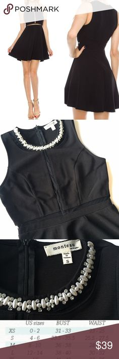 """NEW Mesh Detail Black Dress S,M,L Fit & Flare 33"""" long 97% polyester 4% spandex zip up back. Lined underneath with a slip under the skirt. Mesh material and exquisite beading with rhinestones around neck. ✅Yes I Like Offers ✅ Bundle Discounts  Free Gift $35 orders pre-shipping ❌ Trades Boutique Dresses Mini"""