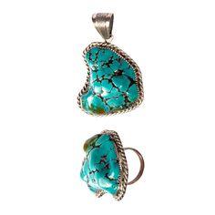1stdibs   Massive Vintage Signed Sterling Silver Turquoise Ring + Pendant