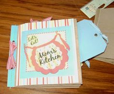 Time for a quickie show and tell. These brown lunch sack scrapbooks are fun to make and I did this one on the cheap with some of those littl. Homemade Recipe Books, Lunch To Go, Show And Tell, Capes, Lunch Recipes, Scrapbooks, Preserve, Crafting, Scrapbook
