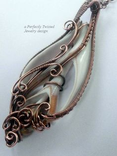 Wire Wrapped Sea Shell Pendant Sliced Seashell by PerfectlyTwisted