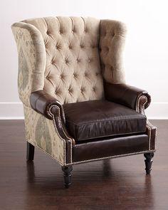 Beasley Tufted Wing Chair, Brown/Tan - Neiman Marcus