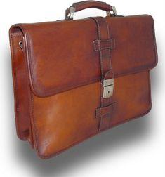 Floto Novella Roller Buckle Briefcase Messenger Bag in Full Grain Leather 4545BU Black