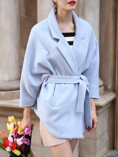 Lapel Simple Solid Wool Blend Batwing Coat with Belt - StyleWe.com