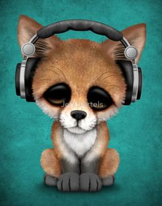 Cute Red Fox Cub Dj Wearing Headphones on Blue by Jeff Bartels