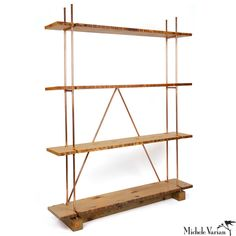 Reclaimed Wood and Copper Shelving $1,800.00 Shelving unit made from familiar and readily accessible natural materials: solid copper tubing and reclaimed lumber. Handmade in New York. Design by Michele Varian. Measures 80 inches tall x 60 inches wide x 12 inches deep. 20 inch shelf height. If you are an INTERIOR DESIGNER interested in using Michele Varian manufactured products for a trade project please submit a copy of your business registration to info@michelevarian.com to receive pricing…