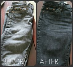 How to dye an old pair of jeans to look new again.  I was just wondering about this today. I think I will try it