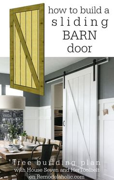 Sliding Barn Door Building Plan on Remodelaholic .com Sliding Barn Door Building Plan on Remodelahol Home Renovation, Home Remodeling, Sweet Home, The Doors, Sliding Doors, Entry Doors, Door Hinges, Wood Doors, Diy Sliding Barn Door
