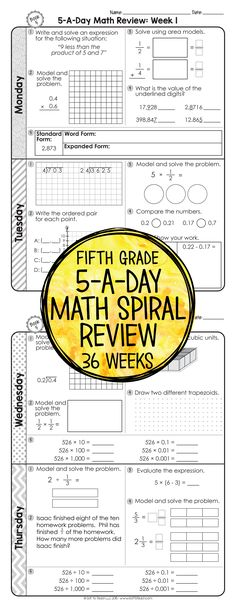 36 weeks of daily Common Core math review for fifth grade! Preview and Review important 5th grade math concepts all year long! Perfect for homework, morning work, or test prep! 5-A-Day: 5 tasks a day, M-Th. CCSS M.5 Available for 3rd - 6th grades!