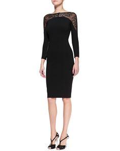 Carolina Herrera Lace-Panel Sheath Dress