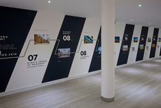 Agatha O I Chobham Manor marketing suite - wall graphics Office Wall Design, Office Mural, Office Walls, Office Interior Design, Office Interiors, Office Wall Graphics, Museum Exhibition Design, Ecole Design, Timeline Design
