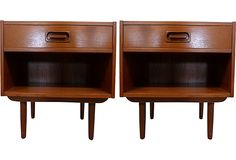 Danish Teak Nightstands, Pair - These would be cool in my guest room. I love the drawer-pull detail on them.