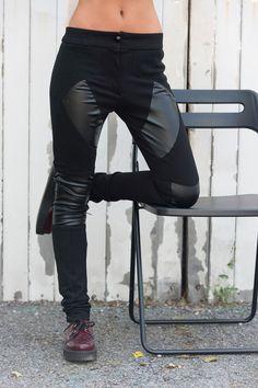980f749b9ea5b Black Leather Pants / Slim Trousers / Women Leggings / Black Skinny Pants/  Tight Black Pants / Leather Pants / Sexy Black Leggings
