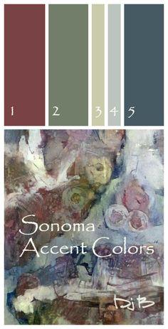Sonoma Wine Country Accent Paint Color Palette. Click for Actual Paint-Shop Color Numbers