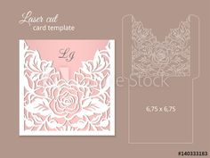 Wedding invitation template for laser cutting or die cutting. Die cut paper card with rose flowers. Laser Cut Invitation, Wedding Invitation Card Template, Laser Cut Wedding Invitations, Wedding Templates, Zentangle, Laser Cutting, Die Cutting, Pop Up Cards, Design Crafts