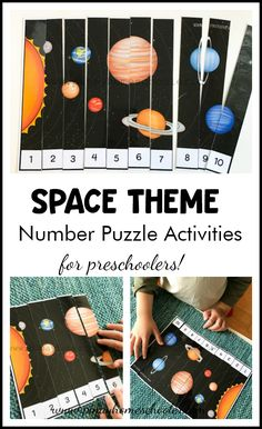Solar System and Space Preschool Mini Unit number puzzles activities for # Space Theme Preschool, Planets Preschool, Planets Activities, Solar System Activities, Space Activities For Kids, Preschool Science Activities, Montessori Activities, Outer Space Crafts For Kids, Space Kids