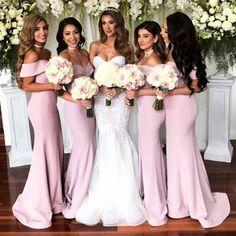 Floor-length Mermaid Off-Shoulder pink cheap simple sexy bridesmaid dresses, BD0448#bridesmaids #bridesmaiddress #bridesmaiddresses #dressesformaidofhonor #weddingparty #2020bridesmaiddresses