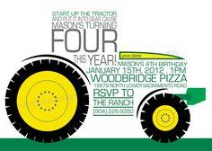 O.M.G. SERIOUSLY ROSALIE! JACOB'S NEXT BIRTHDAY!!!!!!!    John Deere  Tractor  Party Invitation by LunaPetuniaDesigns, $14.00