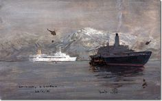 Grytviken, South Georgia - This painting by Charles David Cobb actually shows the British preparing to return towards Britain after the successful conclusion of the conflict. The painting is dated to the 28 June 1982 but it still nicely shows the value of the natural harbour in South Georgia in the otherwise treacherous South Atlantic Seas. The ships appear to be the British troopships, Canberra and the QE2.