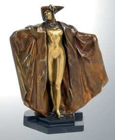 """""""Venetian"""" a gilt and patinated bronze by Maurice Guiraud-Rivière, France 1920s."""