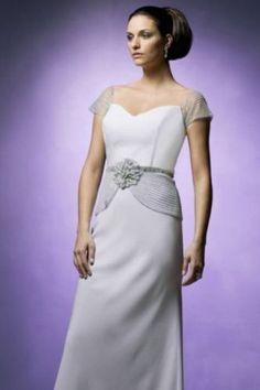 119684c5886 DAYMOR COUTURE PLATINUM Beaded Peplum Mother of Bride 14. Style 8009  PERFECT Cap Sleeve Gown