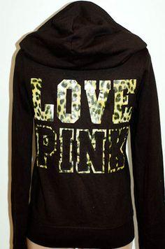 Victoria's Secret LOVE PINK Animal Print & Applique Signature Zip Hoodie