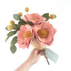 Felt Flower Bouquet Pink Peony and Billy Balls Artificial