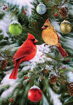 Custom Decor Flag - Cardinals & Ornaments Decorative Flag at Garden House Flags