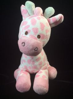 "Prestige Baby Pink White Giraffe Plush Stuffed Animal Green Horns Soft Toy 7""  #PrestigeBaby"