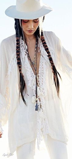 boho chic embroidery embellished tunic top with modern hippie braided hair.  For…