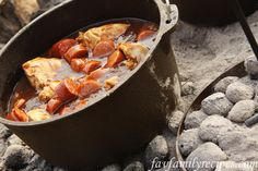 This Dutch Oven Chicken and Sausage is so easy and yummy. I love Dutch oven cooking and have grown up eating it a lot in the summertime. Fire Cooking, Cast Iron Cooking, Oven Cooking, Outdoor Cooking, Dutch Oven Chicken, Cooking Whole Chicken, Dutch Oven Recipes, Cooking Recipes, Campfire Food