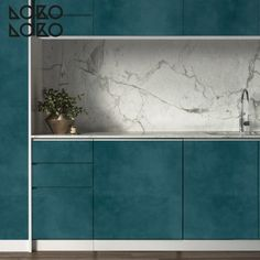 Vinilo de texturas de hormigón turquesa para forrar puertas de cocinas // #lokolokodecora