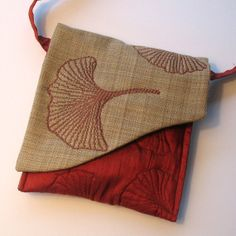 Quilted Silk Purse Gingko Leaves Russet by KathyKinsella on Etsy, $45.00