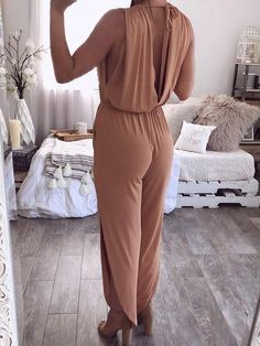 Jumpsuit For Women V Neck Cotton Blend Sleeveless Solid Color Summer Sexy Jumpsuit Rompers Women, Jumpsuits For Women, Casual Jumpsuit, Long Jumpsuits, Types Of Sleeves, V Neck, House Styles, Color Khaki, Halloween Costumes