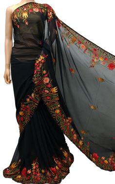 Shop Online Black Kashmiri Aari Work Georgette Saree on Luxurion World Kota Sarees, Georgette Sarees, Indian Sarees, Silk Sarees, Saris, Online Shopping Sarees, Buy Sarees Online, Saree Painting, Fabric Painting
