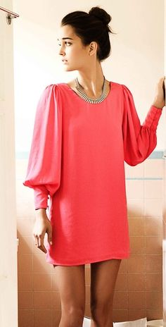Coral long sleeved dress! Adorable