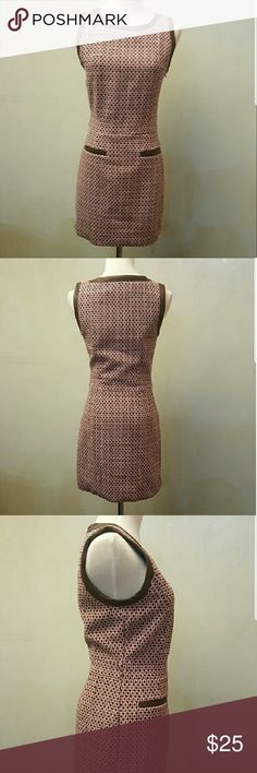 NWT forever21 houndstooth dress Brand new with tags. Forever21 houndstooth pink and faux brown leather trim. Missing belt but loops are in tact Forever 21 Dresses Midi