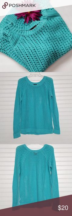 Soft and cozy Spring sweater from a.n.a. size L Gorgeous color on this open-weave sweater made by a.n.a.  I would call it a light turquoise shade or aqua blue. (one of those greenish-blue shades that is hard to capture or even name :)  Very good condition, and perfect for Spring and Summer!  Thanks for visiting my closet, and happy poshing!!! :) a.n.a Sweaters Crew & Scoop Necks