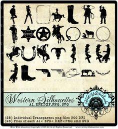 Cowboy Clipart, Rodeo et cliparts occidentale, superpositions, Silhouettes, illustrations total 28, Clip Art, AI, SVG, EPS, dfx, png